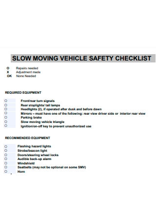 Slow Moving Vehicle Safety Checklist