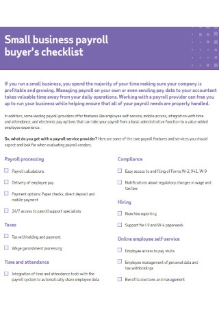 Small Business Payroll Buyers checklist