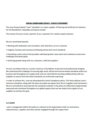 Social Compliance Policy Statement