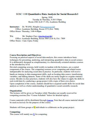 Social Research Quantitative Data Analysis