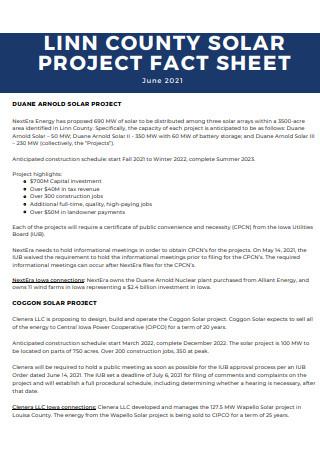 Solar Project Fact Sheet