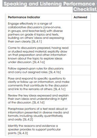 Speaking and Listening Performance Checklist