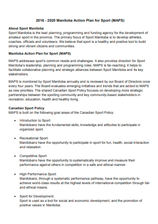 Sports Action Plan Example
