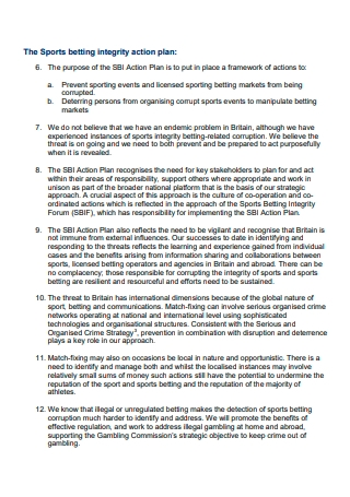 Sports Betting Integrity Action Plan
