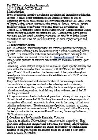 Sports Coaching Framework Year Action Plan