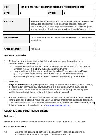 Sports Participants Coaching Session Plan
