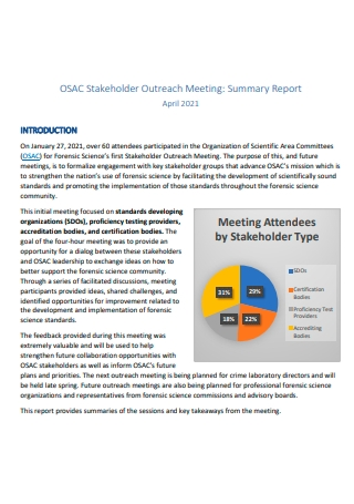 Stakeholder Outreach Meeting Summary Report
