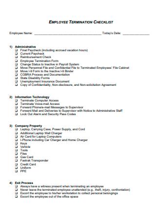Standard Employee Termination Checklist