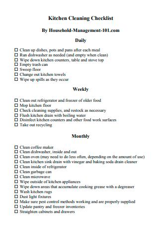 Standard Kitchen Cleaning Checklist