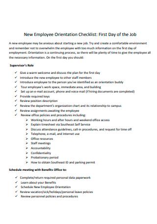 Standard New Employee Orientation Checklist
