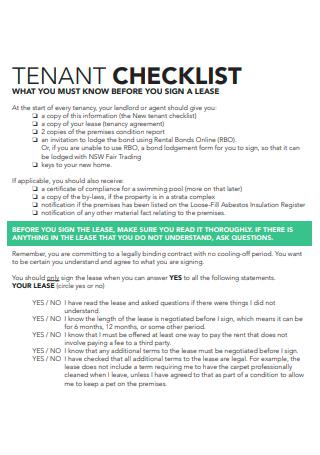 Standard Tenant Checklist
