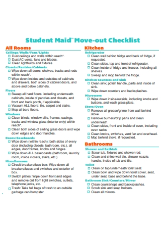 Student Move Out Checklist