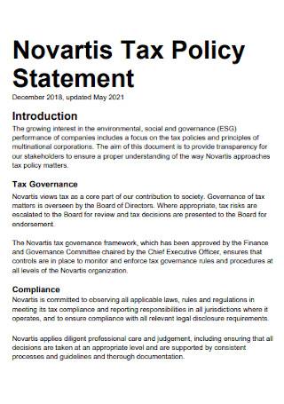 Tax Policy Statement