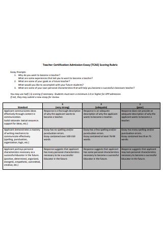 Teacher Certification Admission Essay