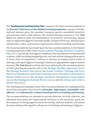 Teaching and Learning Action Plan