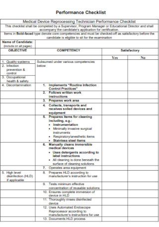 Technician Performance Checklist