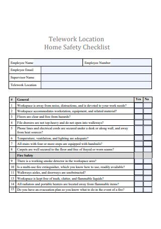 Telework Location Home Safety Checklist
