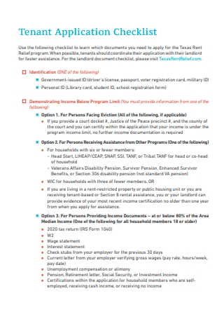 Tenant Application Checklist