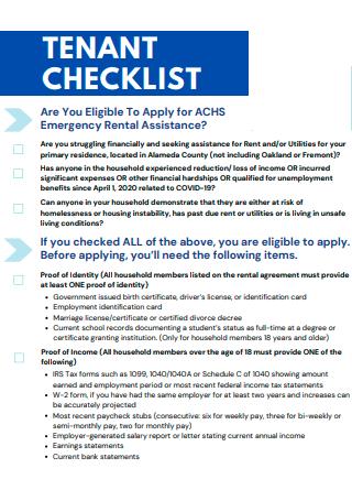 Tenant Checklist in PDF