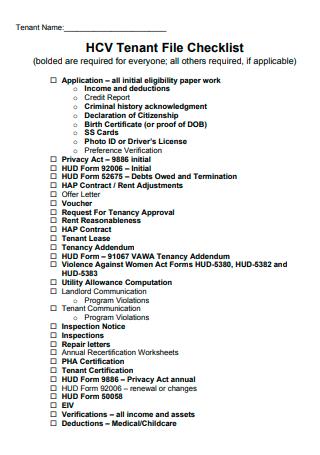 Tenant File Checklist