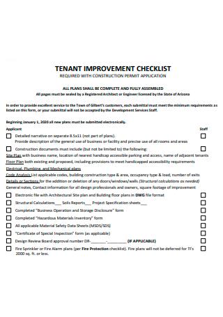 Tenant Improvement Checklist