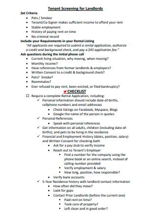 Tenant Screening for Landlords Checklist