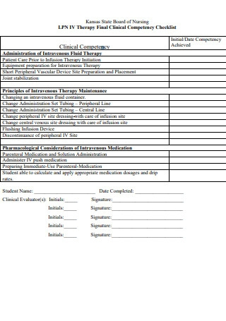 Therapy Final Clinical Competency Checklist of Nursing