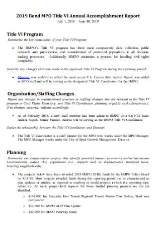 Title VI Annual Accomplishment Report
