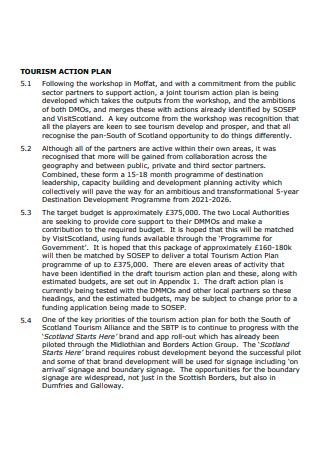 Tourism Action Plan Format