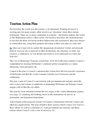 Tourism Action Plan in DOC