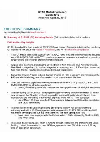 Tourism Marketing Report