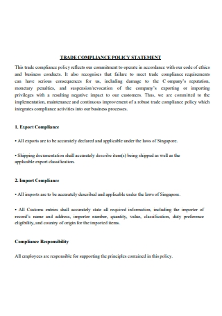 Trade Compliance Policy Statement