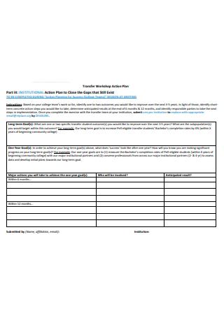Transfer Workshop Action Plan