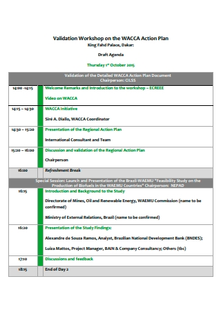 Validation Workshop Action Plan