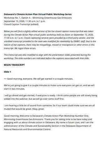 Virtual Public Workshop Series Climate Action Plan