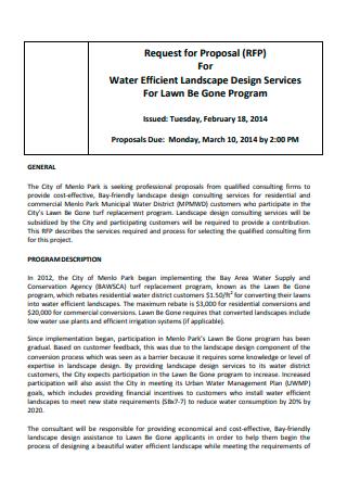 Water Efficient Landscape Design Services Proposal