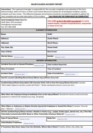 Work Injury Accident Report
