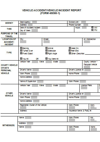 Work Vehicle Accident Report