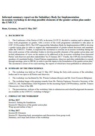 Workshop Action Plan Format