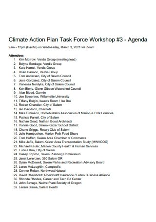 Workshop Agenda Climate Action Plan