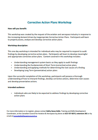 Workshop Corrective Action Plan
