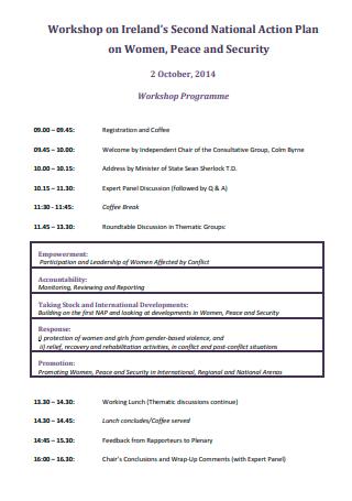 Workshop Programme Action Plan