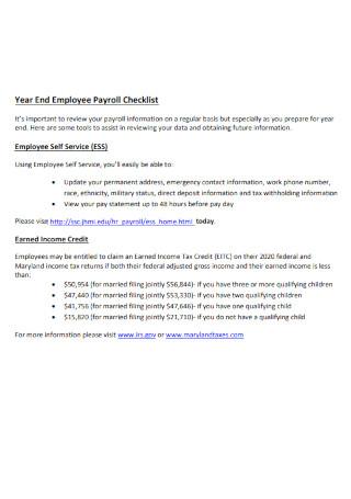 Year End Emloyee Payroll Checklist
