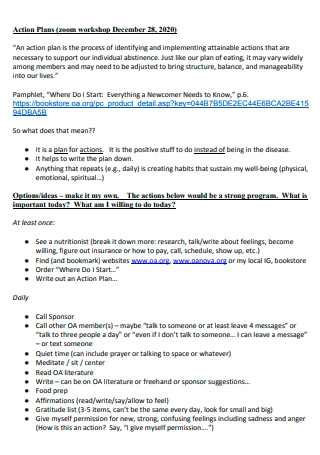 Zoom Workshop Action Plan