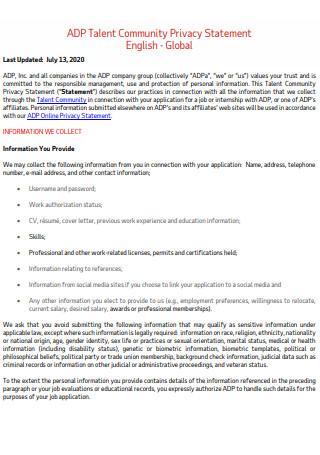 ADP Talent Community Privacy Statement