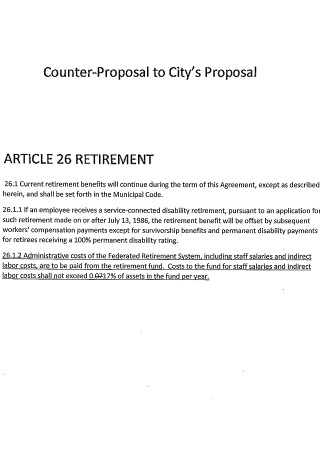 ARTICLE 26 Retirement Proposal