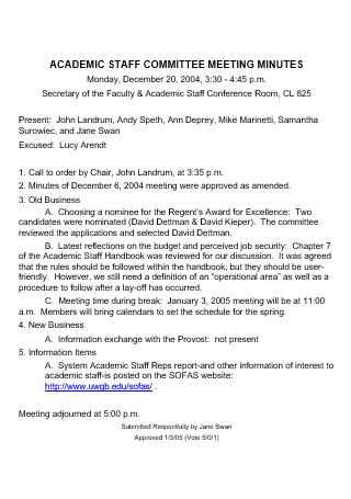 Academic Staff Committee Meeting Minutes
