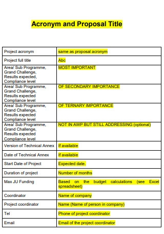 Acronym and Proposal Title