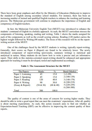 Action Research in English Report Writing