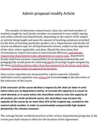 Admin Proposal Modify Article